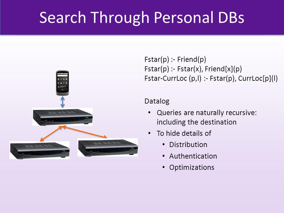 Search Through Personal DBs Fstar(p) :- Friend(p) Fstar(p) :- Fstar(x), Friend[x](p) Fstar-CurrLoc (p,l) :- Fstar(p), CurrLoc[p](l) Datalog Queries are naturally recursive: including the destination To hide details of Distribution Authentication Optimizations