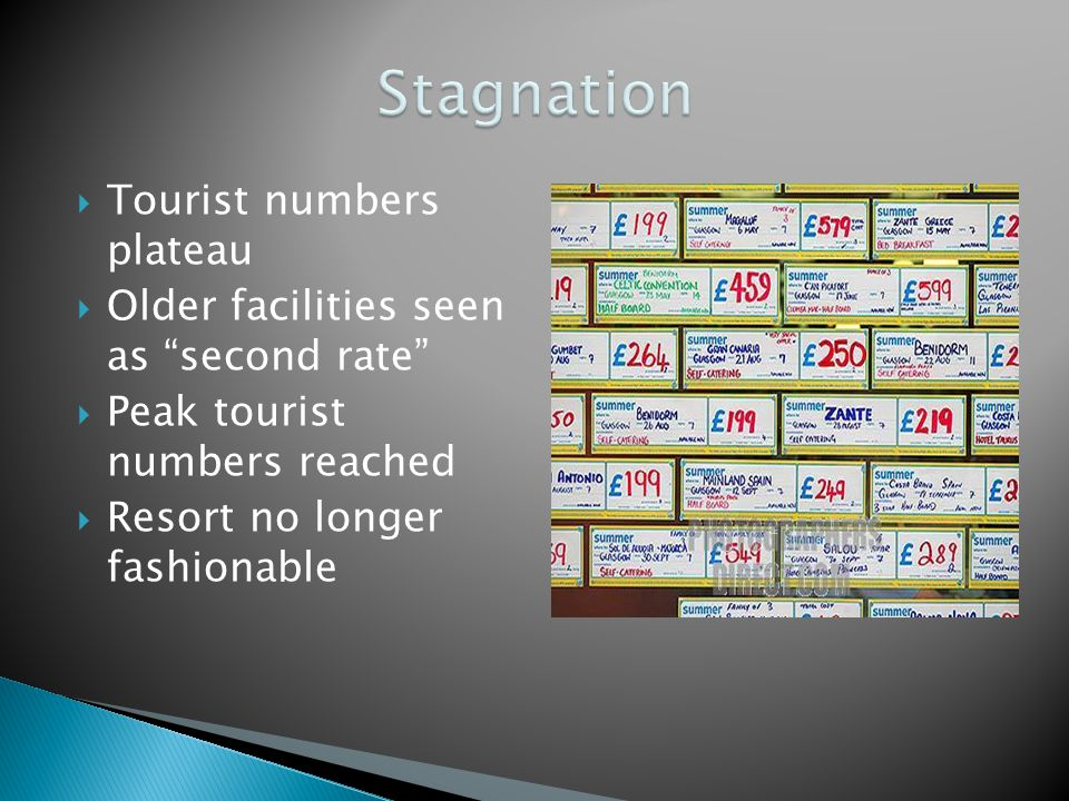  Tourist numbers plateau  Older facilities seen as second rate  Peak tourist numbers reached  Resort no longer fashionable