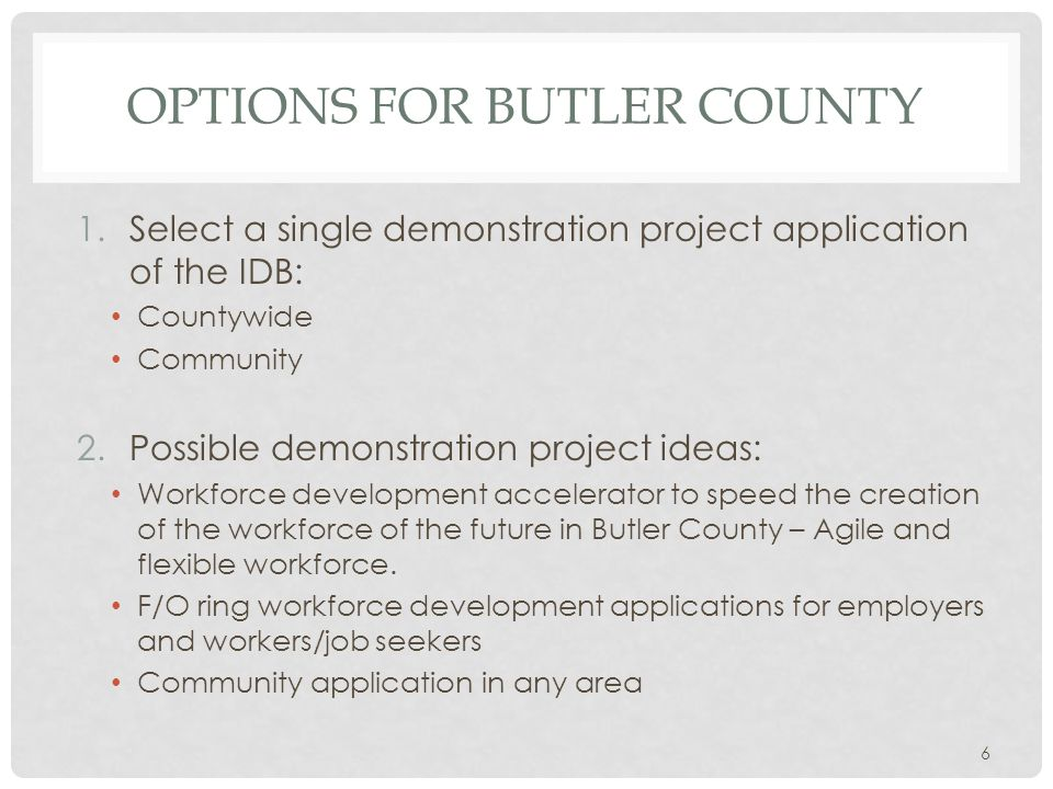OPTIONS FOR BUTLER COUNTY 1.Select a single demonstration project application of the IDB: Countywide Community 2.Possible demonstration project ideas: Workforce development accelerator to speed the creation of the workforce of the future in Butler County – Agile and flexible workforce.