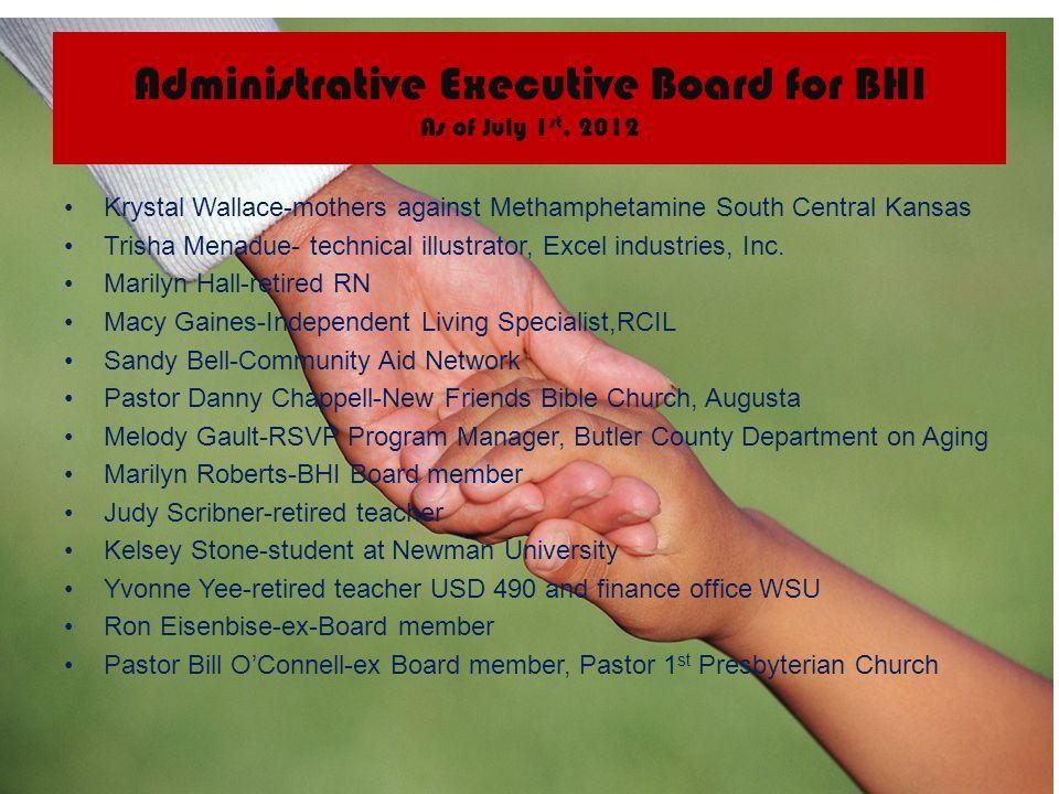 Administrative Executive Board for BHI As of July 1 st, 2012 Krystal Wallace-mothers against Methamphetamine South Central Kansas Trisha Menadue- tech