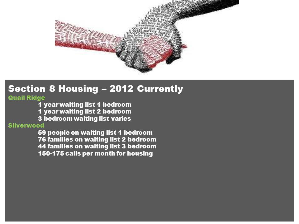 Section 8 Housing – 2012 Currently Quail Ridge 1 year waiting list 1 bedroom 1 year waiting list 2 bedroom 3 bedroom waiting list varies Silverwood 59