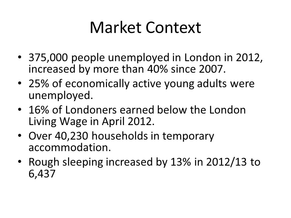 Market Context 375,000 people unemployed in London in 2012, increased by more than 40% since 2007.