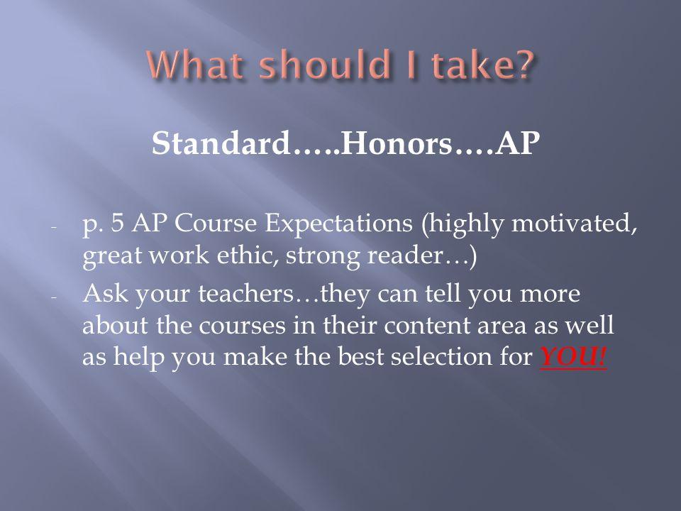 Standard…..Honors….AP - p.