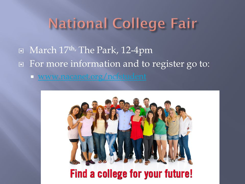  March 17 th, The Park, 12-4pm  For more information and to register go to:  www.nacanet.org/ncfstudent www.nacanet.org/ncfstudent