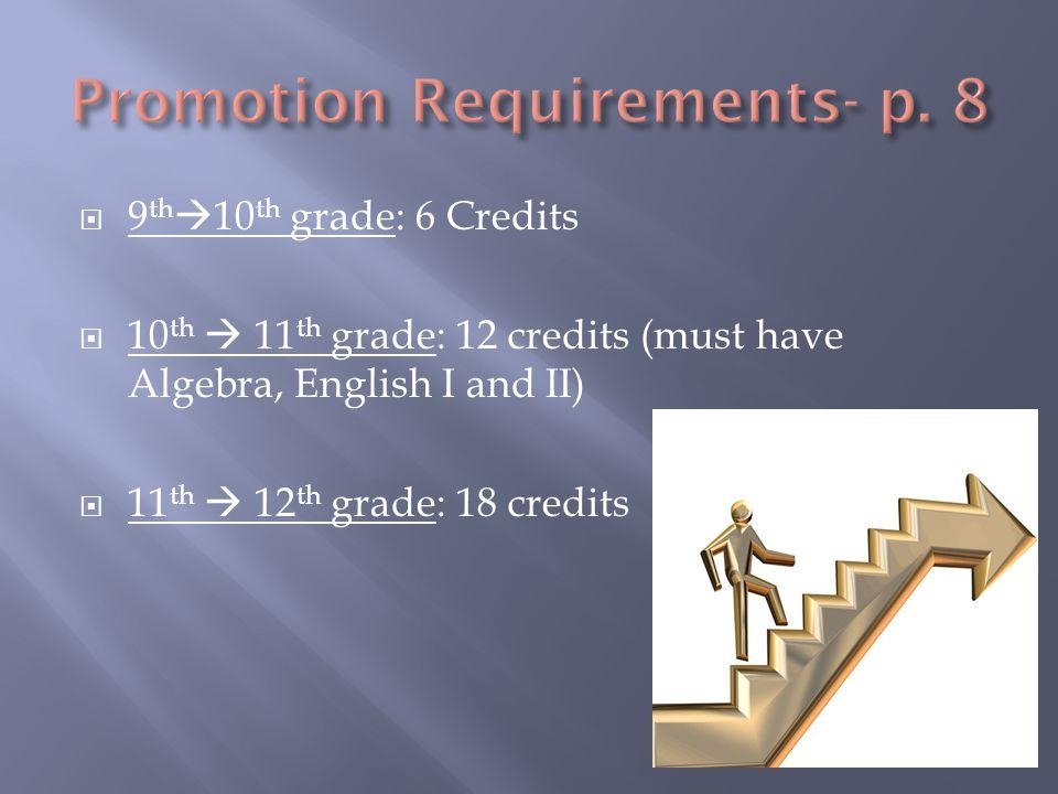  9 th  10 th grade: 6 Credits  10 th  11 th grade: 12 credits (must have Algebra, English I and II)  11 th  12 th grade: 18 credits