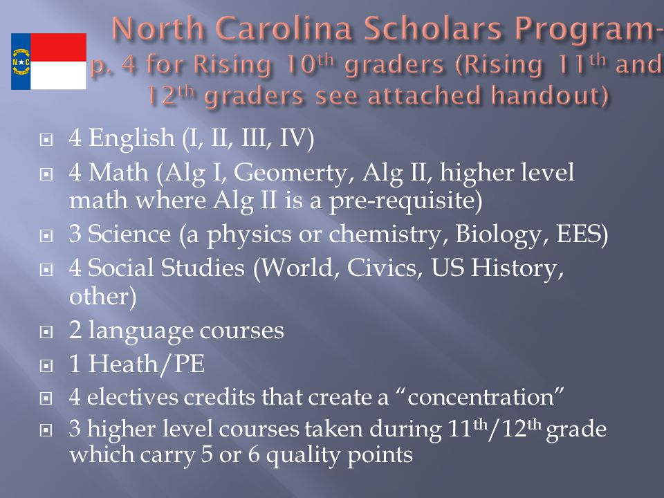  4 English (I, II, III, IV)  4 Math (Alg I, Geomerty, Alg II, higher level math where Alg II is a pre-requisite)  3 Science (a physics or chemistry, Biology, EES)  4 Social Studies (World, Civics, US History, other)  2 language courses  1 Heath/PE  4 electives credits that create a concentration  3 higher level courses taken during 11 th /12 th grade which carry 5 or 6 quality points