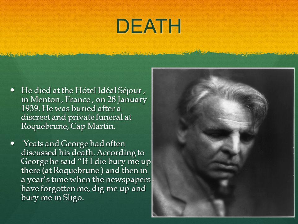 DEATH He died at the Hótel Idéal Séjour, in Menton, France, on 28 January 1939.