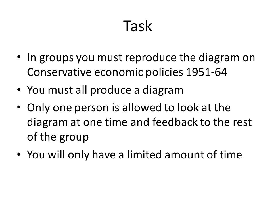Task In groups you must reproduce the diagram on Conservative economic policies 1951-64 You must all produce a diagram Only one person is allowed to l