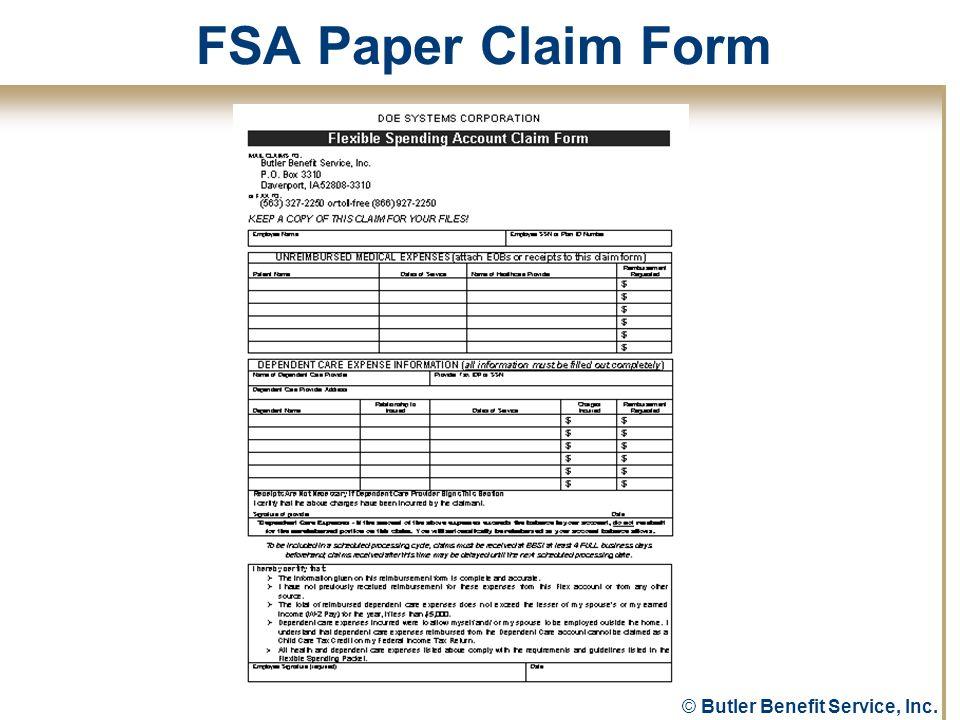 © Butler Benefit Service, Inc. FSA Paper Claim Form