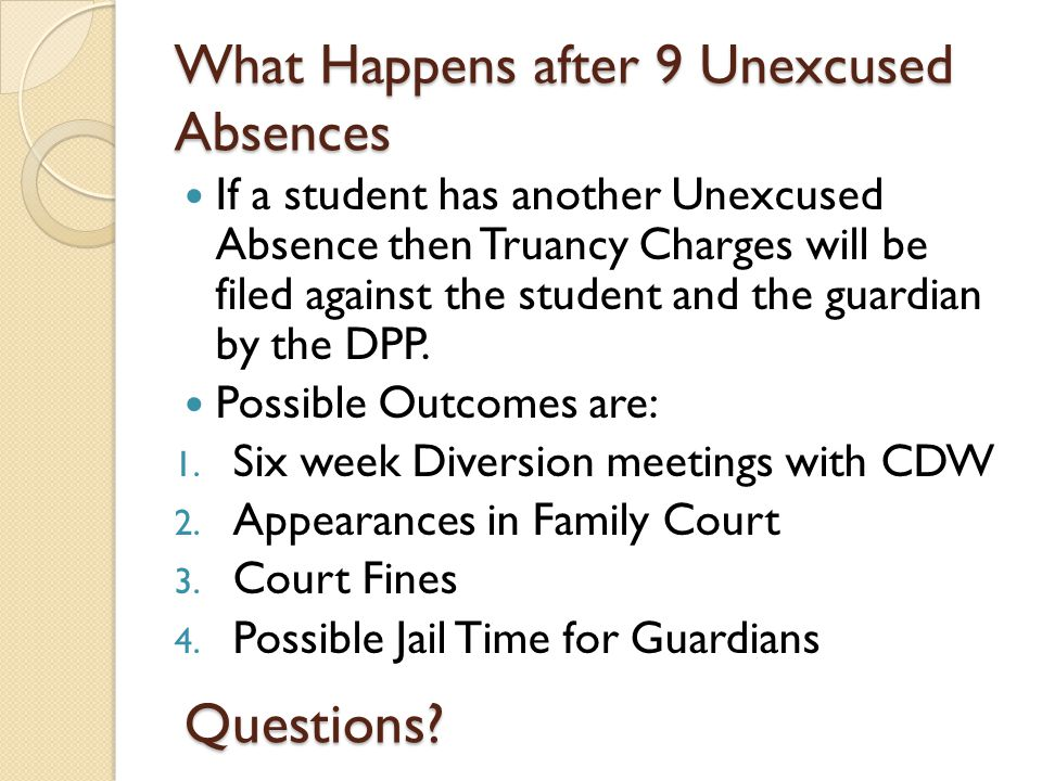 Notice to Attend the Meetings At 3 Unexcused Absences (Parent attendance is Opitonal) At 6 Unexcused Absences ( Parent attendance is Required) At 9 Unexcused Absences ( No Meeting- Final Notice will be delivered by DPP and School Resource Officer)