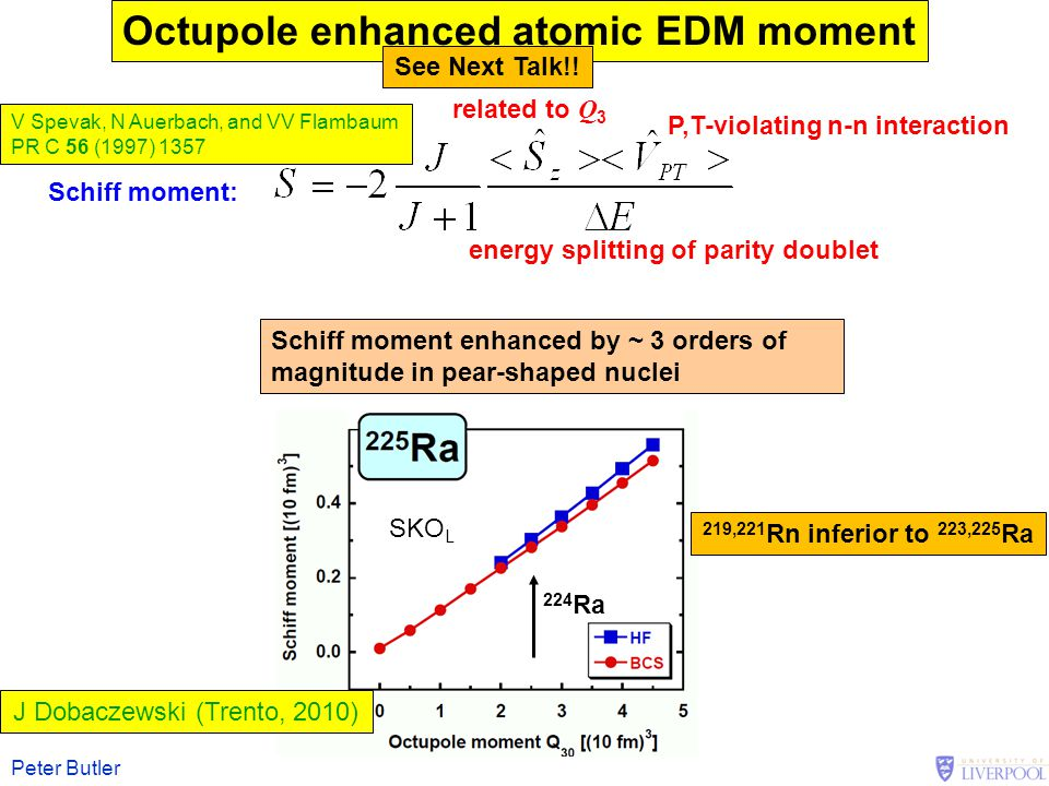 Peter Butler related to Q 3 P,T-violating n-n interaction energy splitting of parity doublet Schiff moment: Octupole enhanced atomic EDM moment Schiff