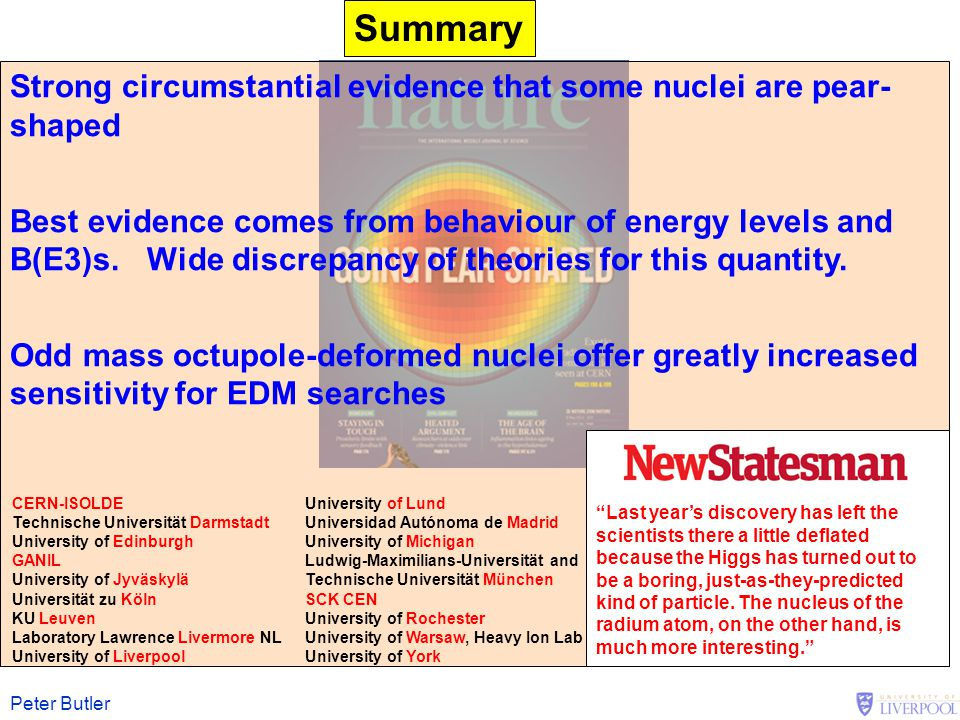 Peter Butler Summary Strong circumstantial evidence that some nuclei are pear- shaped Best evidence comes from behaviour of energy levels and B(E3)s.