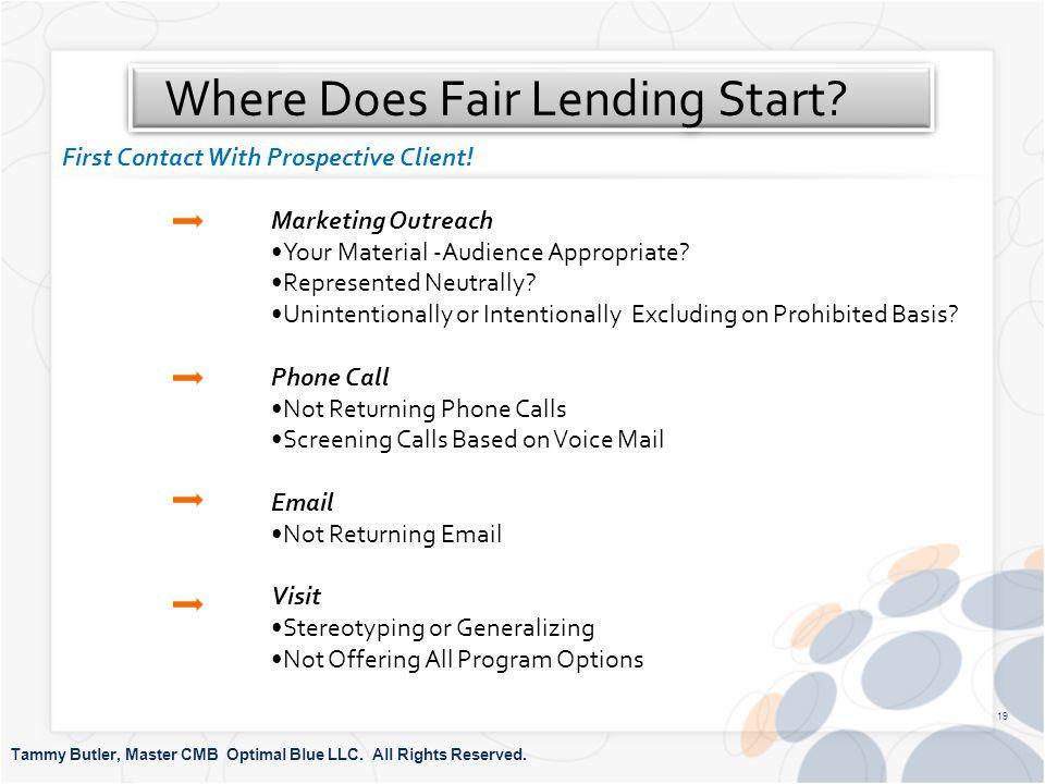 Where Does Fair Lending Start. Tammy Butler, Master CMB Optimal Blue LLC.