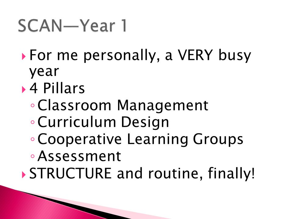  For me personally, a VERY busy year  4 Pillars ◦ Classroom Management ◦ Curriculum Design ◦ Cooperative Learning Groups ◦ Assessment  STRUCTURE and routine, finally!