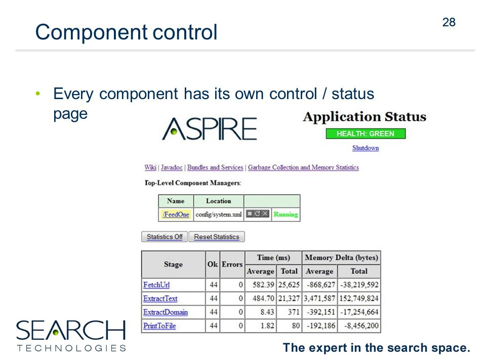 28 Component control Every component has its own control / status page 28