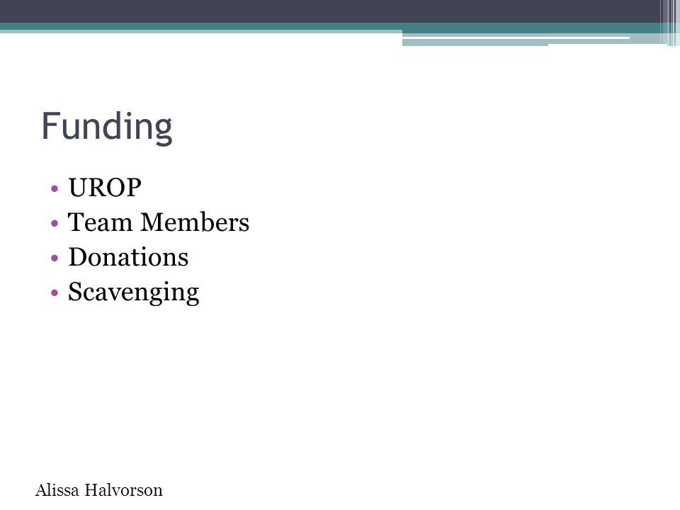 Funding UROP Team Members Donations Scavenging Alissa Halvorson
