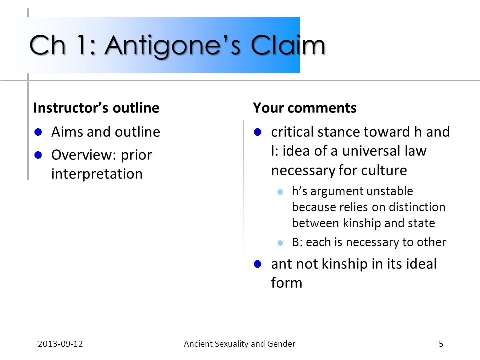 Ch 1: Antigone's Claim Instructor's outline Aims and outline Overview: prior interpretation Your comments critical stance toward h and l: idea of a universal law necessary for culture h's argument unstable because relies on distinction between kinship and state B: each is necessary to other ant not kinship in its ideal form 2013-09-12Ancient Sexuality and Gender5