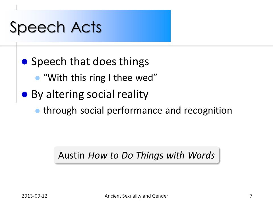 Speech Acts Speech that does things With this ring I thee wed By altering social reality through social performance and recognition 2013-09-12Ancient Sexuality and Gender7 Austin How to Do Things with Words