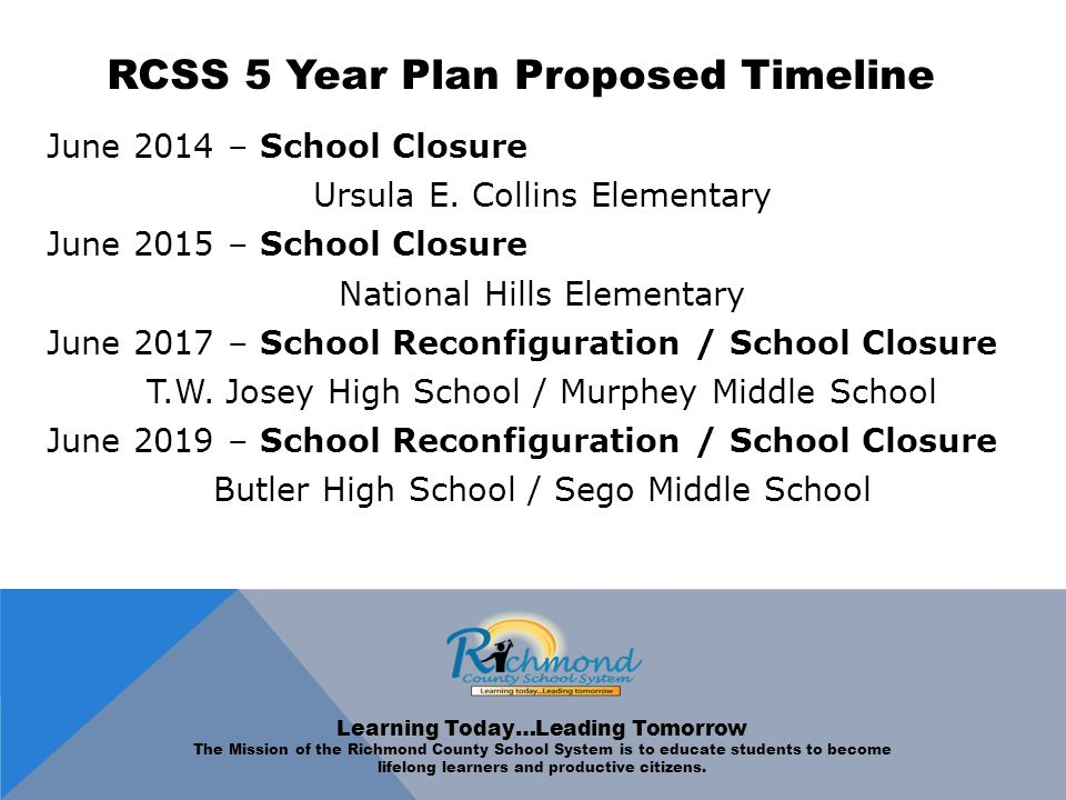 RCSS 5 Year Plan Proposed Timeline June 2014 – School Closure Ursula E.