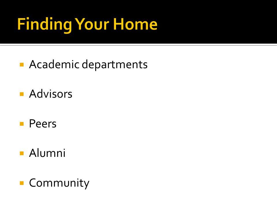  Academic departments  Advisors  Peers  Alumni  Community
