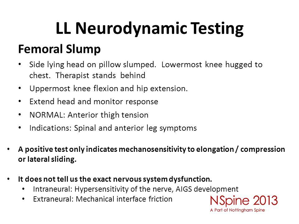 LL Neurodynamic Testing Femoral Slump Side lying head on pillow slumped.
