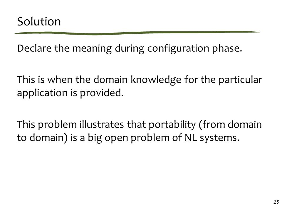Solution Declare the meaning during configuration phase.