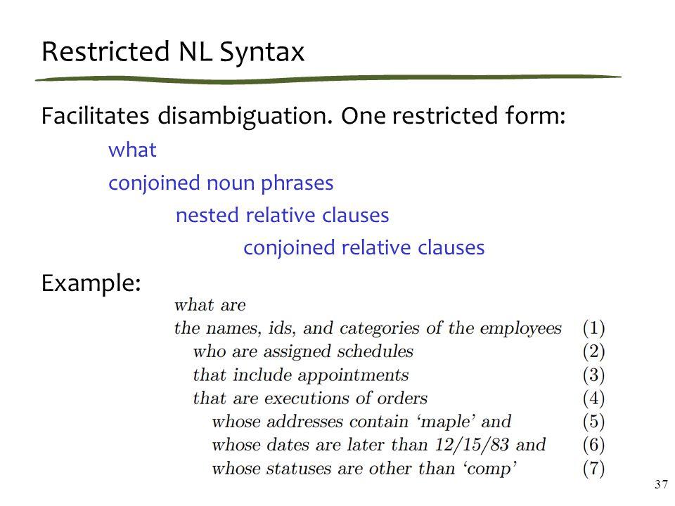 Restricted NL Syntax Facilitates disambiguation.