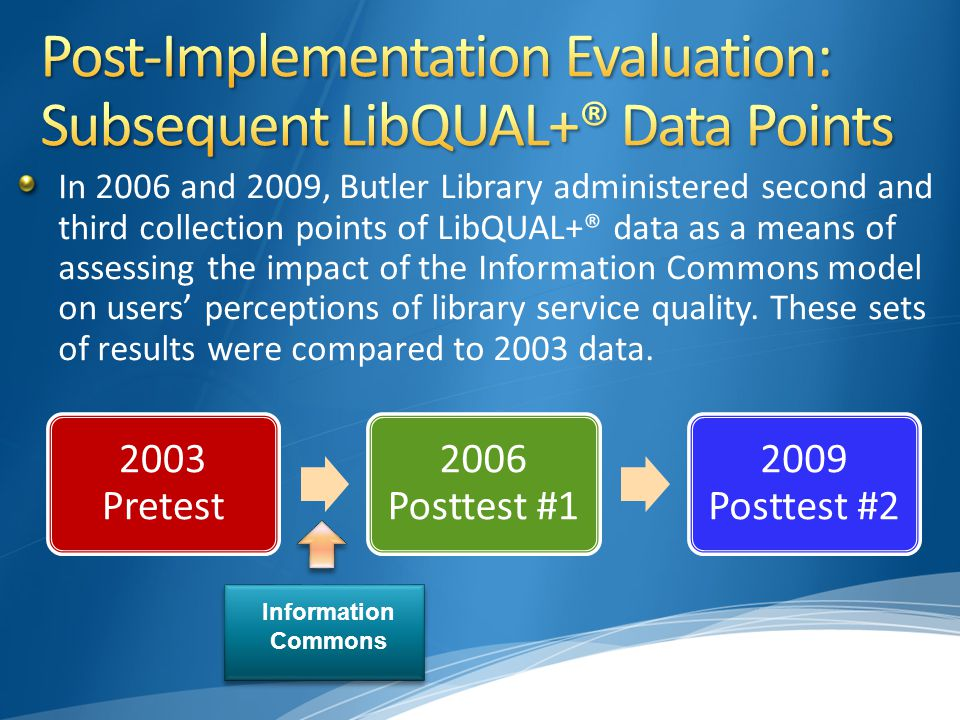In 2006 and 2009, Butler Library administered second and third collection points of LibQUAL+® data as a means of assessing the impact of the Information Commons model on users' perceptions of library service quality.