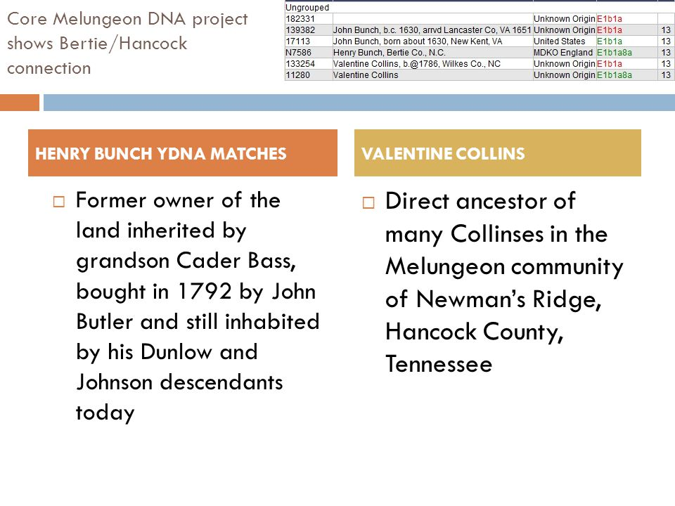 Core Melungeon DNA project shows Bertie/Hancock connection  Former owner of the land inherited by grandson Cader Bass, bought in 1792 by John Butler