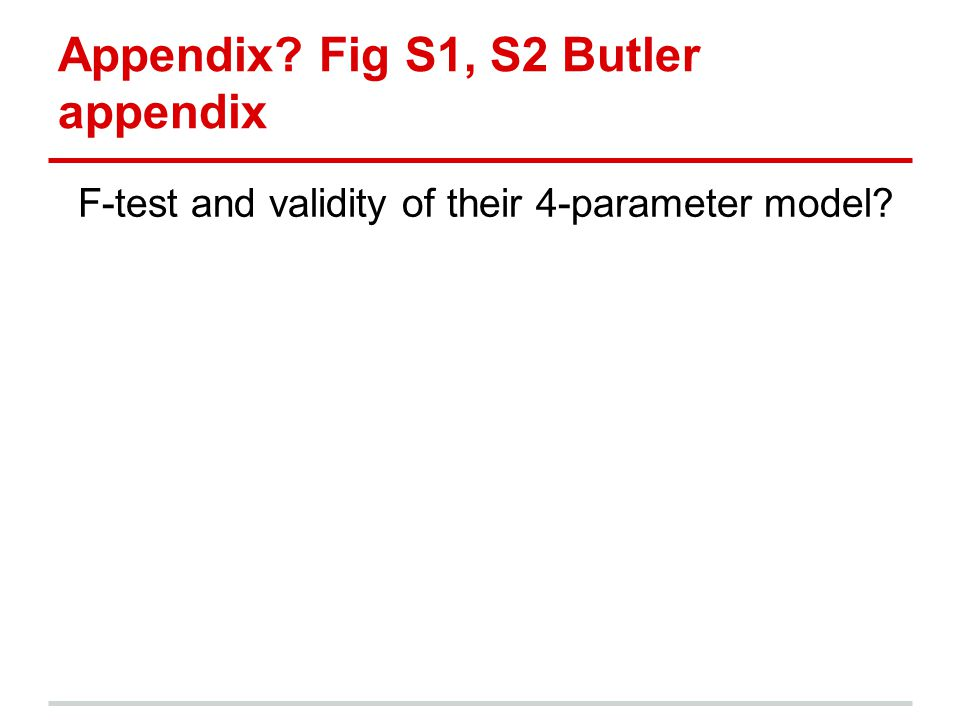 Appendix? Fig S1, S2 Butler appendix F-test and validity of their 4-parameter model?