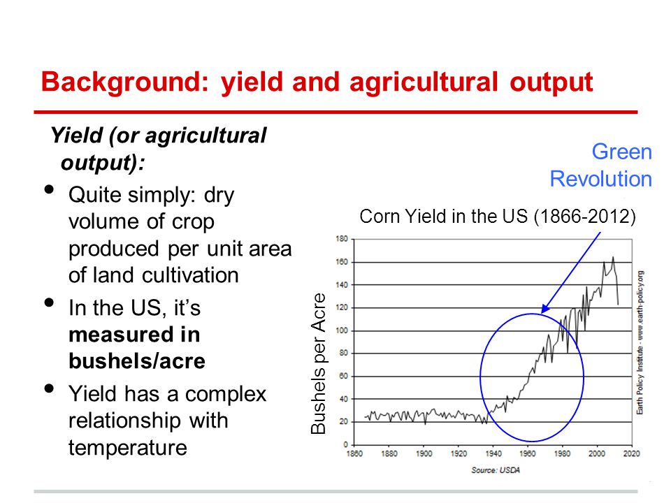 Bushels per Acre Background: yield and agricultural output Yield (or agricultural output): Quite simply: dry volume of crop produced per unit area of land cultivation In the US, it's measured in bushels/acre Yield has a complex relationship with temperature Corn Yield in the US (1866-2012) Green Revolution