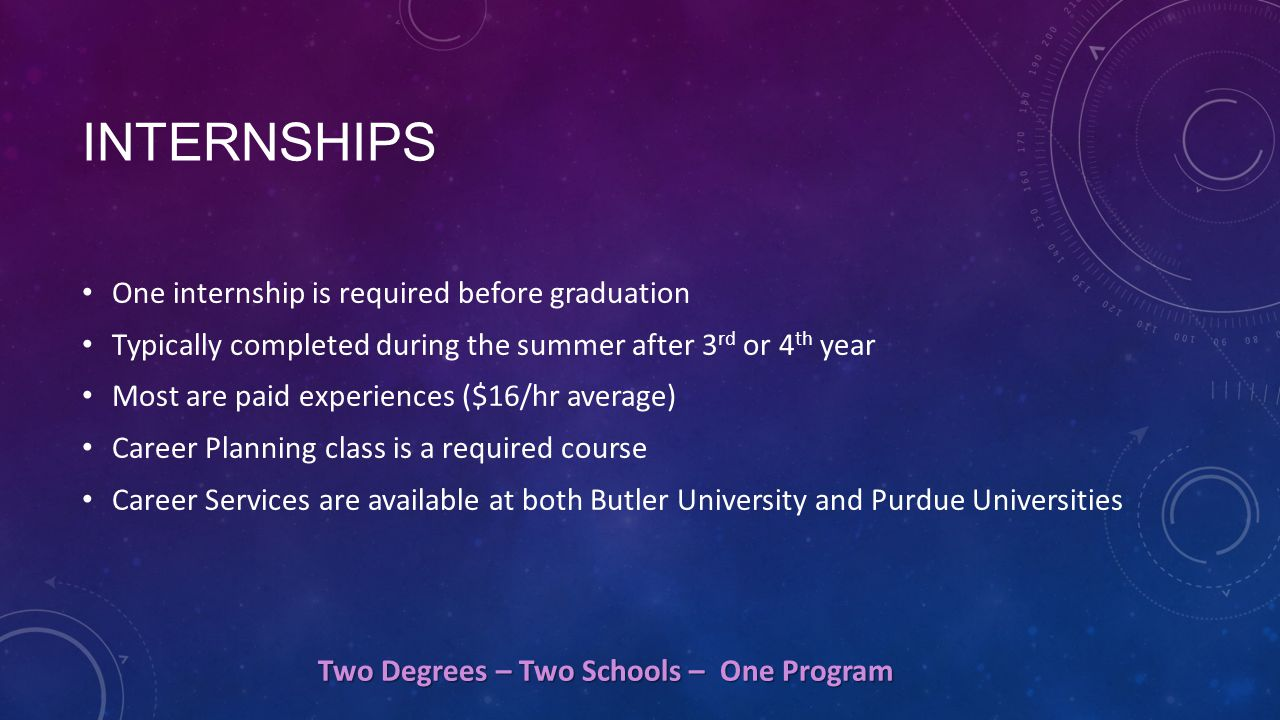 INTERNSHIPS One internship is required before graduation Typically completed during the summer after 3 rd or 4 th year Most are paid experiences ($16/