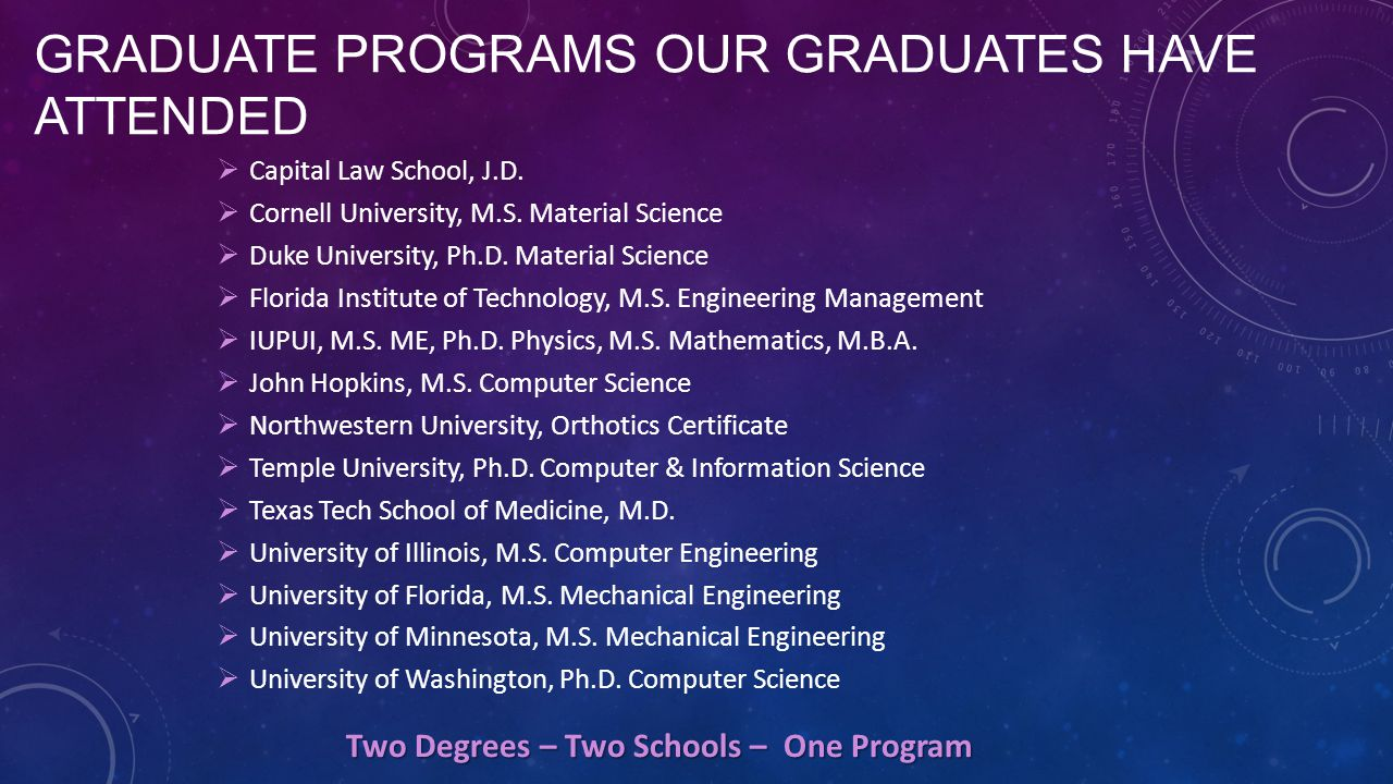 GRADUATE PROGRAMS OUR GRADUATES HAVE ATTENDED  Capital Law School, J.D.  Cornell University, M.S. Material Science  Duke University, Ph.D. Material