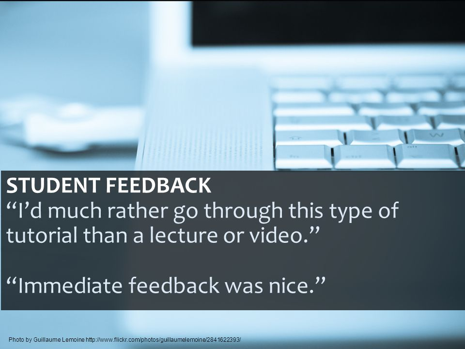 STUDENT FEEDBACK I'd much rather go through this type of tutorial than a lecture or video. Immediate feedback was nice. Photo by Guillaume Lemoine http://www.flickr.com/photos/guillaumelemoine/2841622393/
