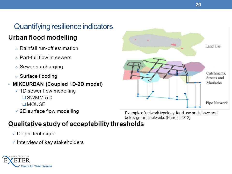 Quantifying resilience indicators Urban flood modelling o Rainfall run-off estimation o Part-full flow in sewers o Sewer surcharging o Surface floodin