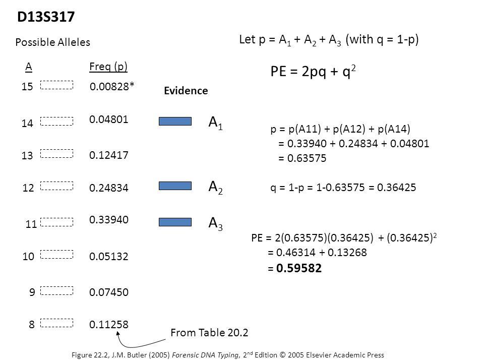 A1A1 8 9 10 11 12 13 14 15 Possible Alleles D13S317 A2A2 A3A3 Evidence Let p = A 1 + A 2 + A 3 (with q = 1-p) PE = 2pq + q 2 AFreq (p) 0.11258 0.07450