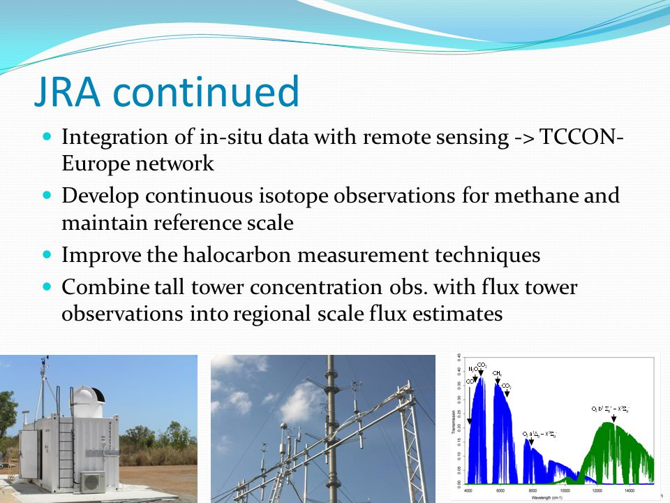 JRA continued Integration of in-situ data with remote sensing -> TCCON- Europe network Develop continuous isotope observations for methane and maintain reference scale Improve the halocarbon measurement techniques Combine tall tower concentration obs.