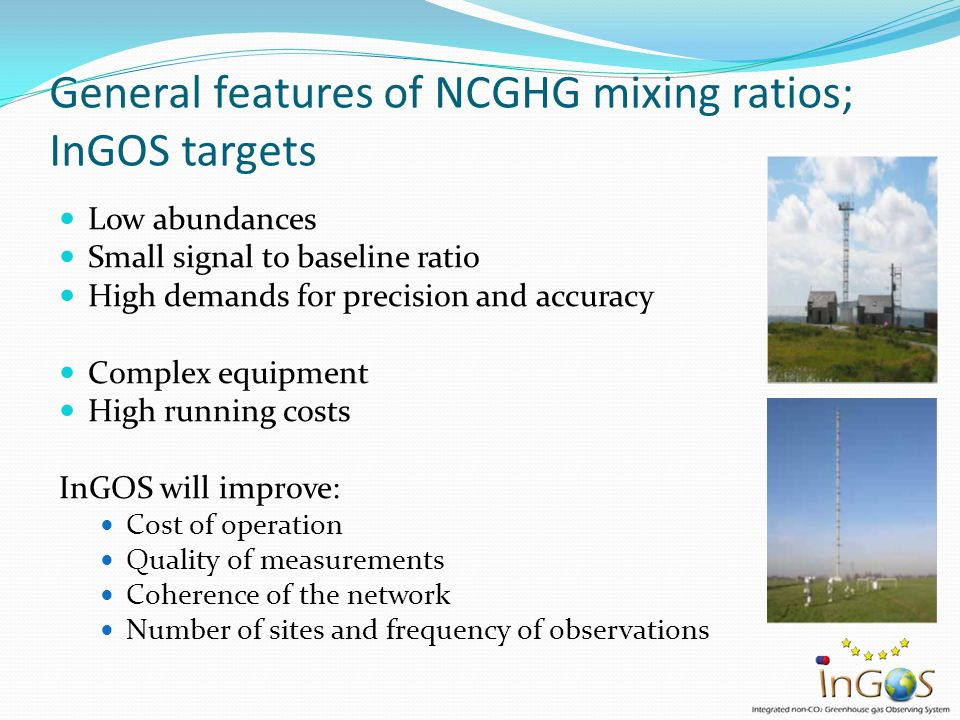InGOS infrastructure Tall towers Ocean observations Airborne measurements Satellite data (down) Total column (up) Data centre (Flux) sites Isotope Lab Cal gas Lab