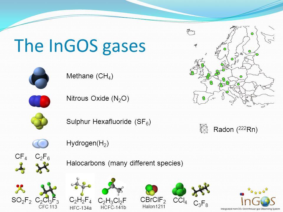 The InGOS gases Sulphur Hexafluoride (SF 6 ) Nitrous Oxide (N 2 O) Methane (CH 4 ) Radon ( 222 Rn) Hydrogen(H 2 ) SO 2 F 2 C3F8C3F8 C 2 Cl 3 F 3 CFC 1