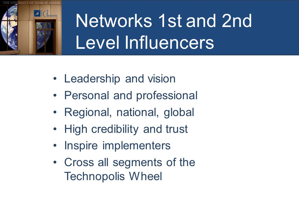 Networks 1st and 2nd Level Influencers Leadership and vision Personal and professional Regional, national, global High credibility and trust Inspire implementers Cross all segments of the Technopolis Wheel
