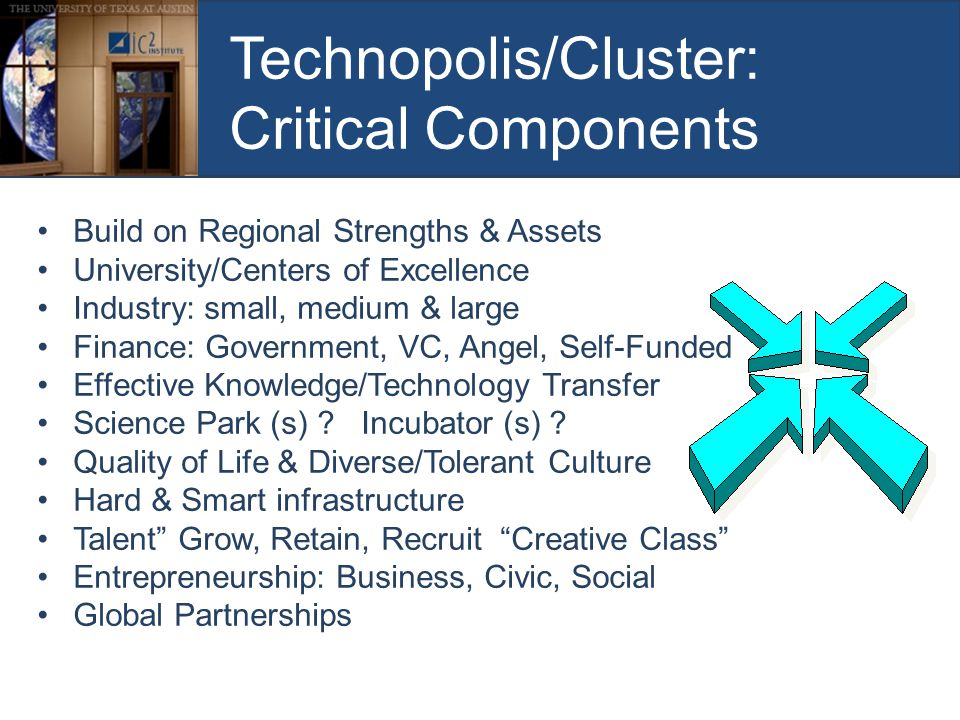 Technopolis/Cluster: Critical Components Build on Regional Strengths & Assets University/Centers of Excellence Industry: small, medium & large Finance: Government, VC, Angel, Self-Funded Effective Knowledge/Technology Transfer Science Park (s) .