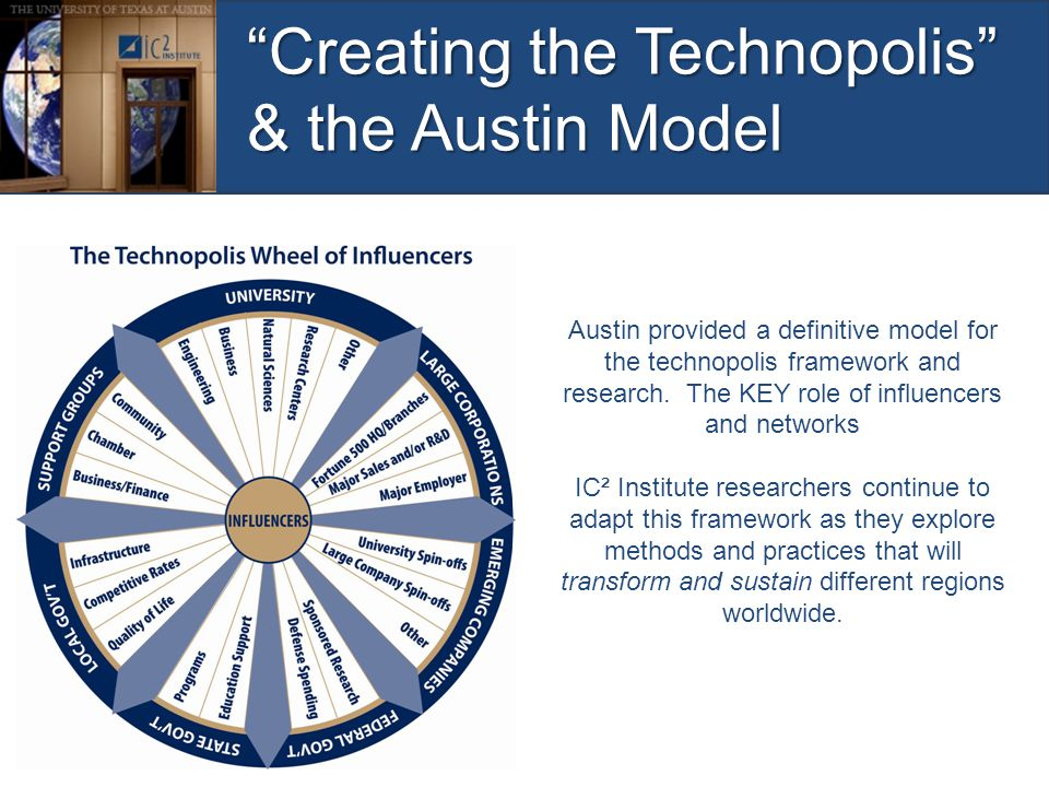 """Creating the Technopolis"" & the Austin Model Austin provided a definitive model for the technopolis framework and research. The KEY role of influence"