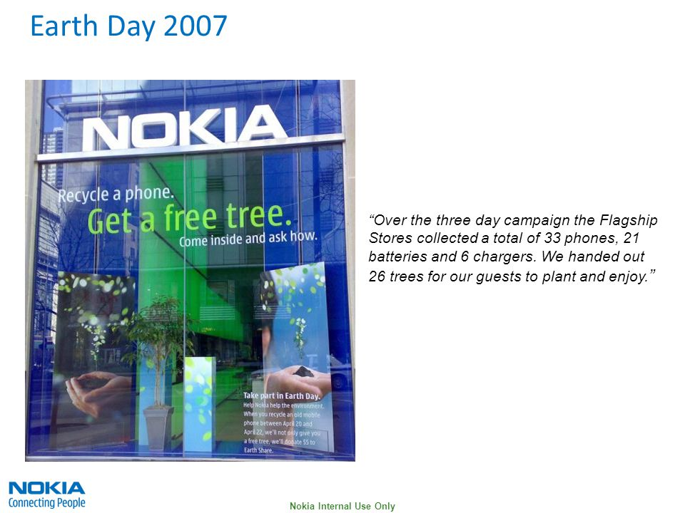 Nokia Internal Use Only Over the three day campaign the Flagship Stores collected a total of 33 phones, 21 batteries and 6 chargers.