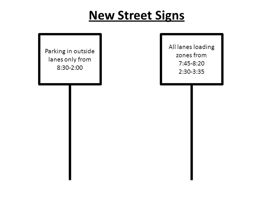 Parking in outside lanes only from 8:30-2:00 All lanes loading zones from 7:45-8:20 2:30-3:35 New Street Signs