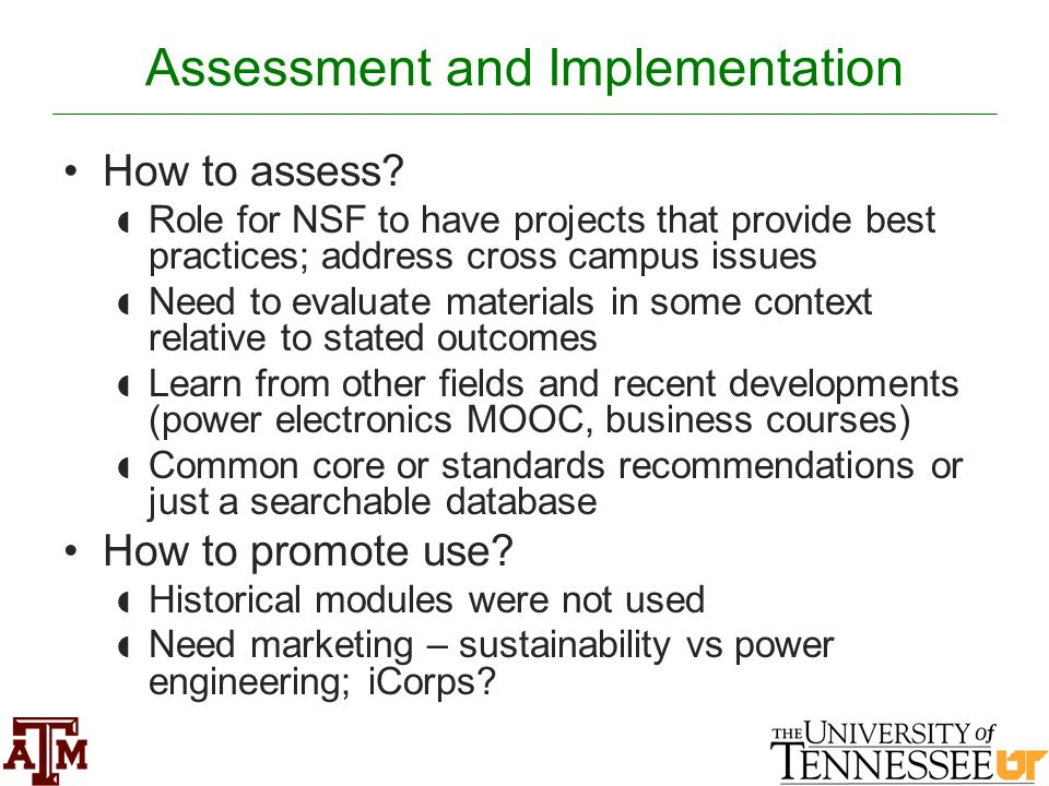 Assessment and Implementation How to assess.