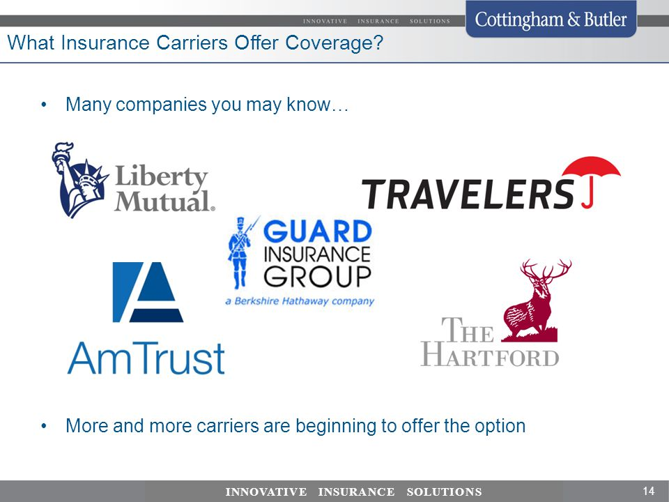 14 INNOVATIVE INSURANCE SOLUTIONS What Insurance Carriers Offer Coverage.