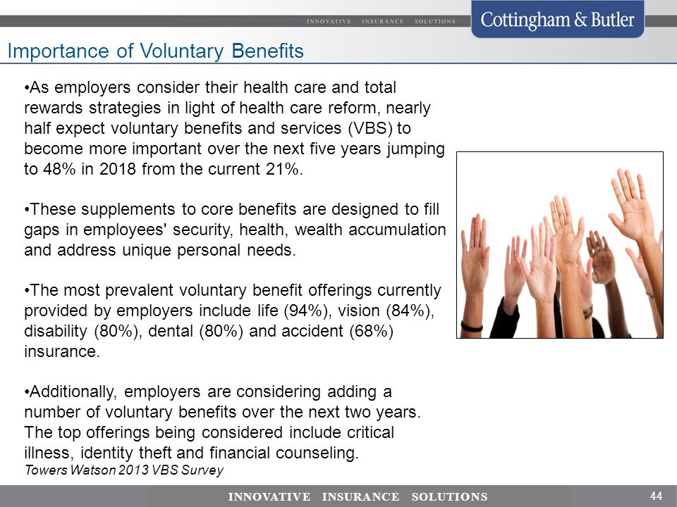 44 INNOVATIVE INSURANCE SOLUTIONS Importance of Voluntary Benefits As employers consider their health care and total rewards strategies in light of health care reform, nearly half expect voluntary benefits and services (VBS) to become more important over the next five years jumping to 48% in 2018 from the current 21%.