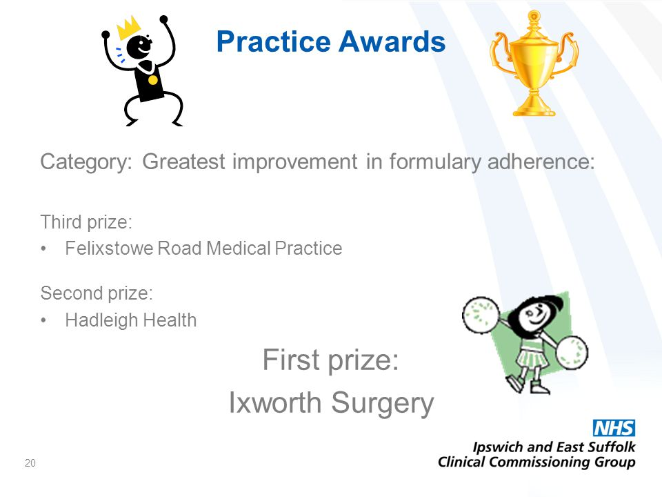 Practice Awards Category: Greatest improvement in formulary adherence: Third prize: Felixstowe Road Medical Practice Second prize: Hadleigh Health First prize: Ixworth Surgery 20