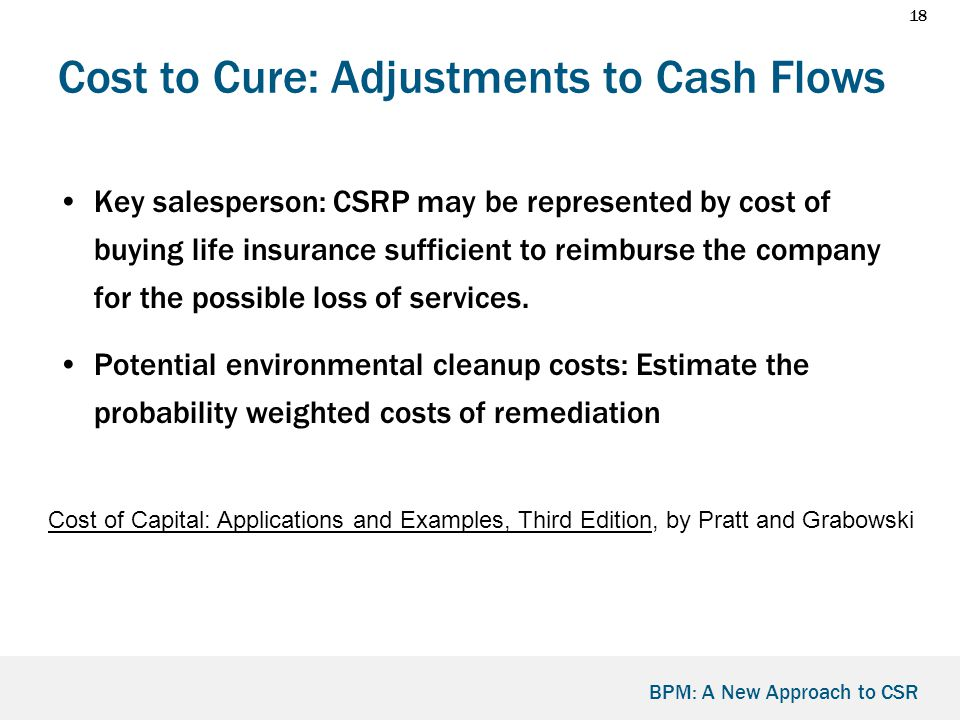 18 BPM: A New Approach to CSR Cost to Cure: Adjustments to Cash Flows Key salesperson: CSRP may be represented by cost of buying life insurance sufficient to reimburse the company for the possible loss of services.