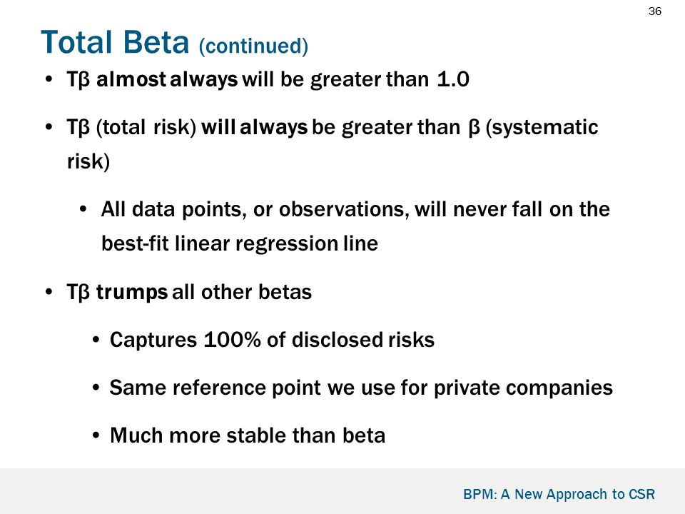 36 BPM: A New Approach to CSR Total Beta (continued) Tβ almost always will be greater than 1.0 Tβ (total risk) will always be greater than β (systematic risk) All data points, or observations, will never fall on the best-fit linear regression line Tβ trumps all other betas Captures 100% of disclosed risks Same reference point we use for private companies Much more stable than beta
